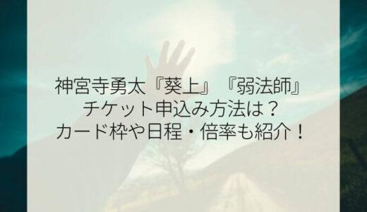 神宮寺勇太舞台『葵上・弱法師』チケット申込み方法は?カード枠や日程・倍率も紹介!